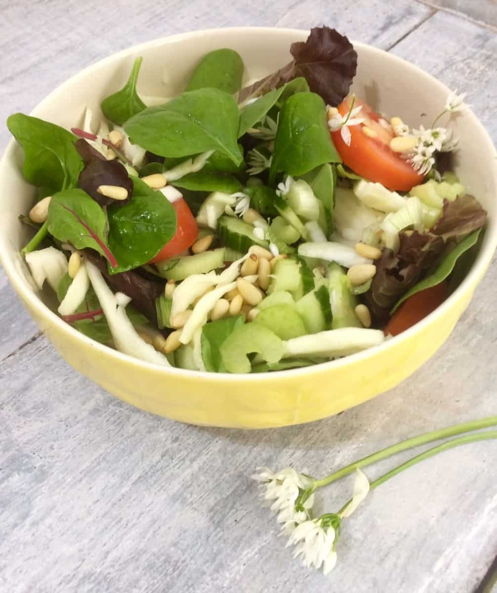 Wild Garlic, Pear and Pine Nut Salad