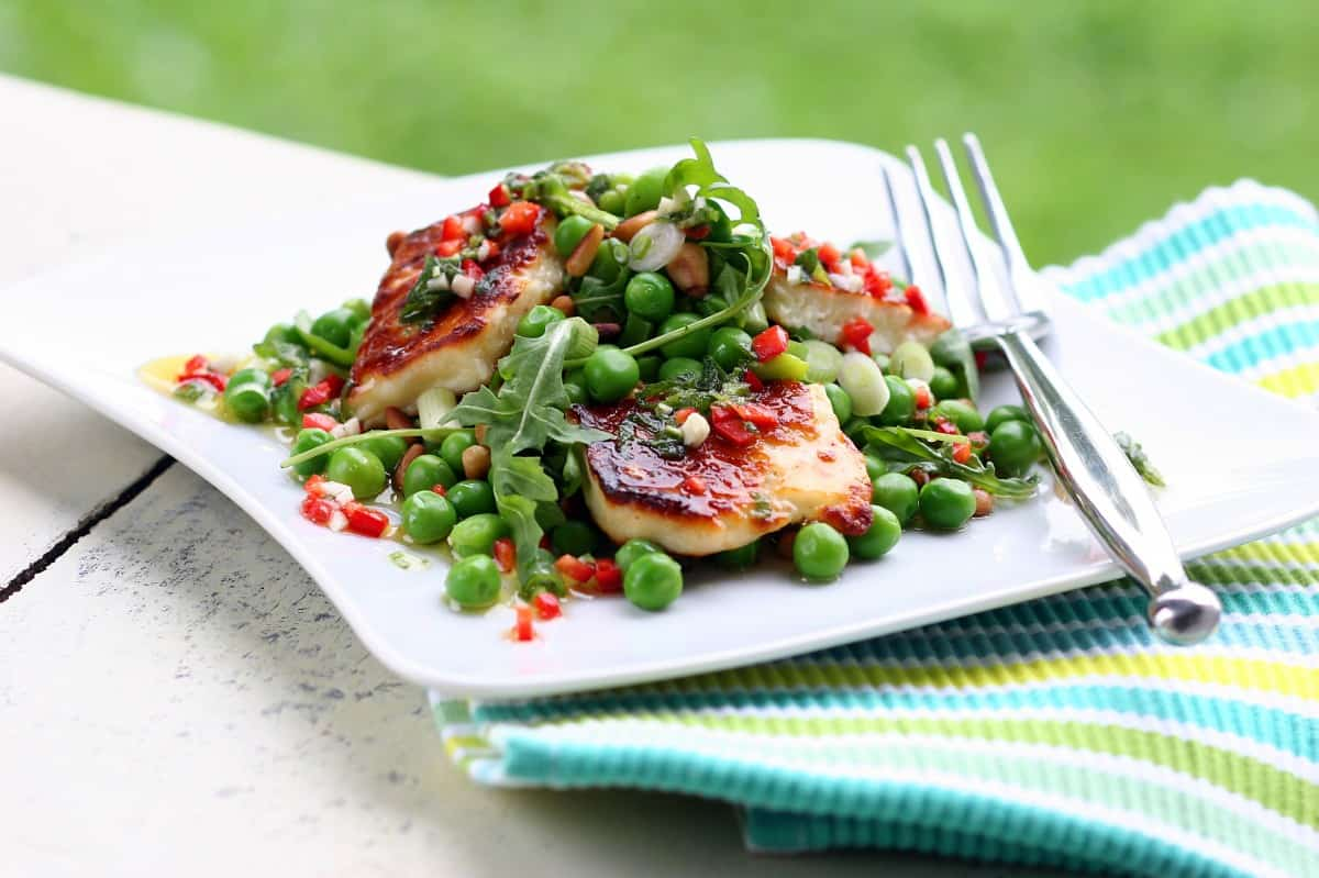 Grilled Halloumi with Peas, Pine Nuts, Broad Beans and Rocket